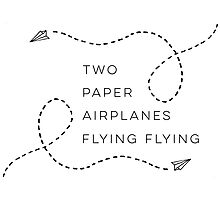 Two paper airplanes flying flying Photographic Print