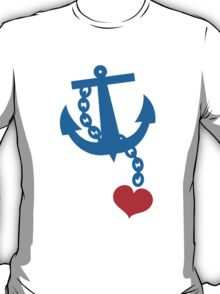 NAVY blue anchor with a love heart T-Shirt