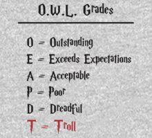 Hogwarts O.W.L.s Grades - Troll (black writing) by OuroborosEnt