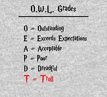Hogwarts O.W.L.s Grades - Troll (black writing) Womens Fitted T-Shirt