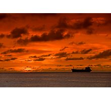 Arubia Sunset and Freighter Photographic Print