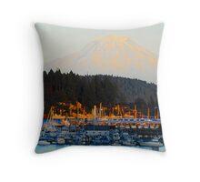 """""""Gig Harbor and Mt. Rainier"""" Throw Pillow"""