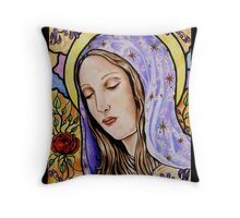 Holy Mother Stained Glass Throw Pillow