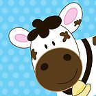 Cute Happy Cow -  Aqua Dot by JessDesigns
