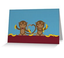 Monkeys in love Greeting Card