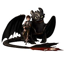 toothless with hiccup Photographic Print