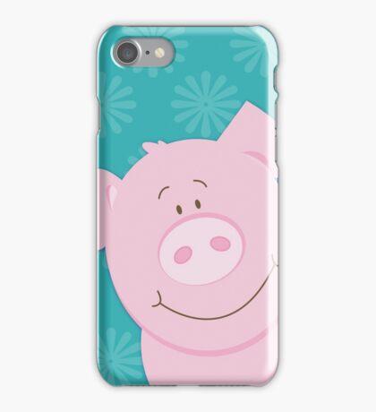 Cute Happy Pig - Aqua iPhone Case/Skin