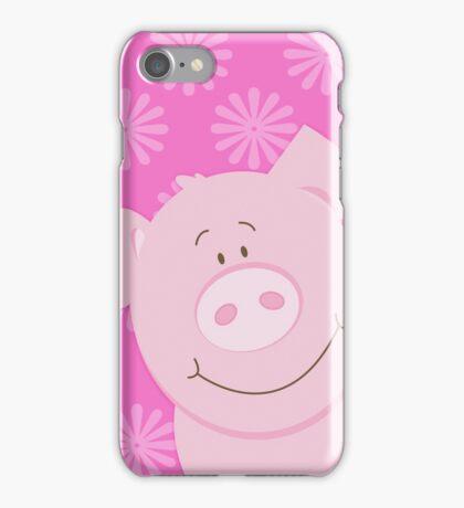 Cute Happy Pig - Pink iPhone Case/Skin