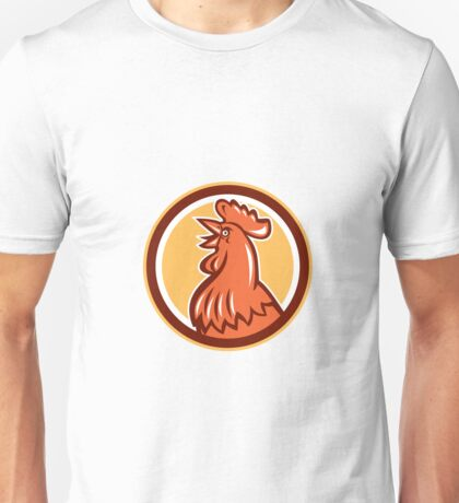 Chicken Rooster Head Crowing Circle Retro Unisex T-Shirt