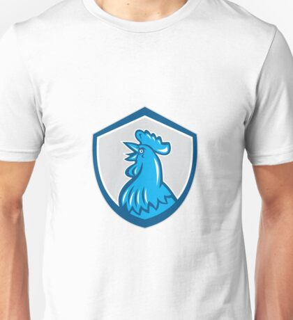 Chicken Rooster Head Crowing Shield Retro Unisex T-Shirt