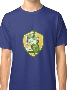 Rugby Player Running Goose Steps Shield Retro Classic T-Shirt
