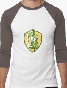 Rugby Player Running Goose Steps Shield Retro Men's Baseball ¾ T-Shirt