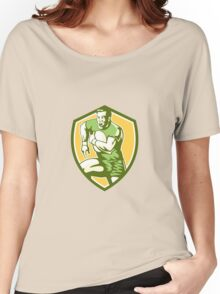 Rugby Player Running Goose Steps Shield Retro Women's Relaxed Fit T-Shirt