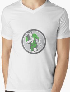 Rugby Player Running Ball Circle Retro Mens V-Neck T-Shirt