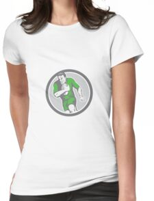 Rugby Player Running Ball Circle Retro Womens Fitted T-Shirt