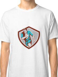Rugby Player Running Ball Shield Retro Classic T-Shirt