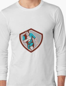 Rugby Player Running Ball Shield Retro Long Sleeve T-Shirt