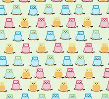 Trendy Multi-Color Owls on a Branch - Green by JessDesigns