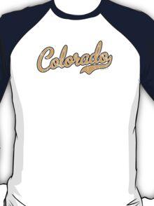 Colorado Script Font VINTAGE Gold T-Shirt