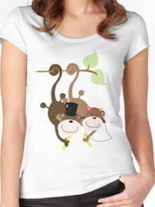 Monkey Wedding Couple Bride and Groom Women's Fitted Scoop T-Shirt