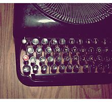 Typewriter on hardwood floor Photographic Print