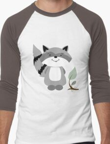 Enchanted Forest Raccoon Cartoon Animal Men's Baseball ¾ T-Shirt