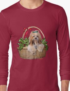 Lhasa in Christmas basket Long Sleeve T-Shirt