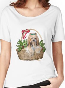 Lhasa in Christmas basket Women's Relaxed Fit T-Shirt