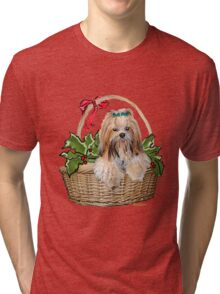 Lhasa in Christmas basket Tri-blend T-Shirt