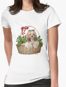 Lhasa in Christmas basket Womens Fitted T-Shirt
