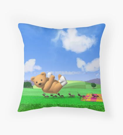 Teddy's Big Day Out - Vertica Throw Pillow