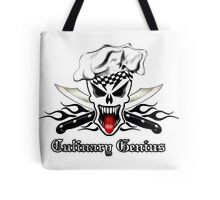 Chef Skull 2.1: Culinary Genius Black Flames Tote Bag