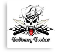 Chef Skull 2.1: Culinary Genius Black Flames Canvas Print