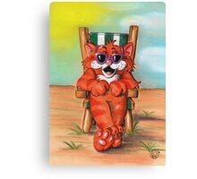 CAT ON BEACH CHAIR Canvas Print