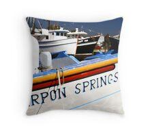 """""""Tarpon Springs Florida, Boats"""" Throw Pillow"""