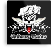 Chef Skull 2.1: Culinary Genius 3 white flames Metal Print