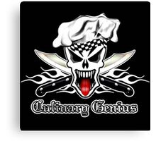 Chef Skull 2.1: Culinary Genius 3 white flames Canvas Print