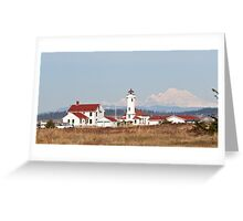 Point Wilson Light Station and Mount Baker Greeting Card