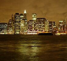 New York Skyline on A Cloudy Night by John Ayo