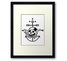 SKULL ANCHOR BLACK Framed Print