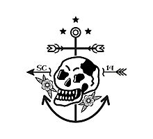 SKULL ANCHOR BLACK Photographic Print