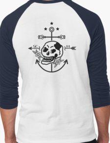 SKULL ANCHOR BLACK Men's Baseball ¾ T-Shirt