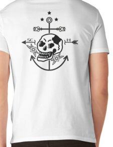 SKULL ANCHOR BLACK Mens V-Neck T-Shirt