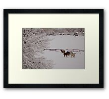 Winter Wonderland w/horses Framed Print