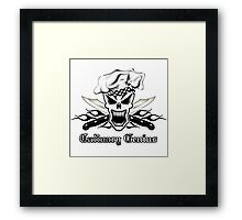 Chef Skull 2.2: Culinary Genius 3 black flames Framed Print