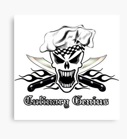 Chef Skull 2.2: Culinary Genius 3 black flames Canvas Print