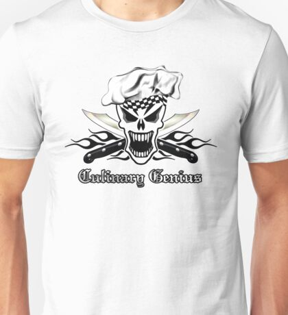 Chef Skull 2.2: Culinary Genius 3 black flames Unisex T-Shirt