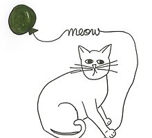 mr. kitty with green balloon by tinysugarspree