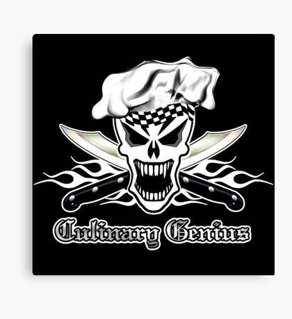 Chef Skull 2.2: Culinary Genius 3 white flames Canvas Print