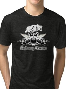 Chef Skull 2.2: Culinary Genius 3 white flames Tri-blend T-Shirt